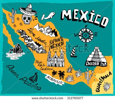Illustrated map of Mexico with the main attractions   RAYA SAMPUL ...