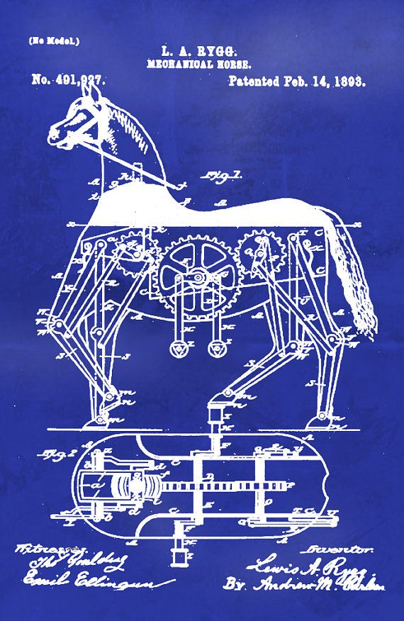 Blueprint Art of Patent Mechanical Horse 1893 Technical Drawings - new blueprint book entropia