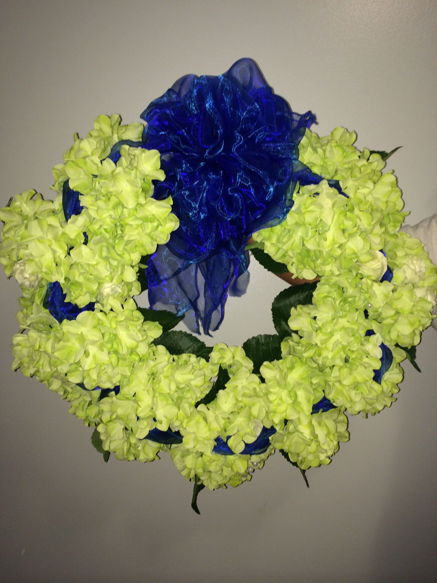Hydrangea wreath, made from the bridesmaids bouquets and flower arrangements left over from the wedding decorations