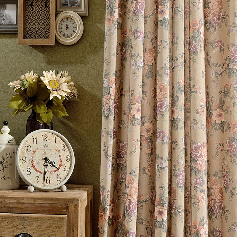 Cafe Kitchen Interior Decoration Home Vintage Style Curtains For Living  Room Brown Flower Pattern Cotton Window