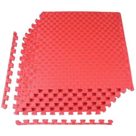 Balancefrom 1 Inch Extra Thick Puzzle Exercise Mat With Eva Foam Interlocking Tiles For Mma Exercise Gymnastics And Home Gym Protective Flooring 24 Square Feet Red Mat Exercises Square Patterns Puzzle Mat