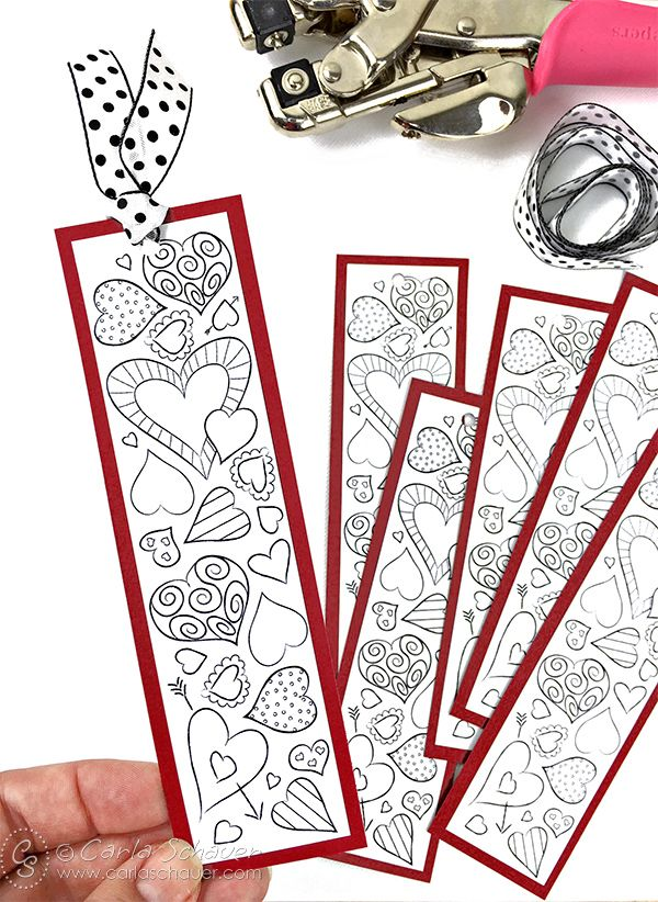 Valentine Heart Bookmarks to Print and Color | Heart bookmark ...