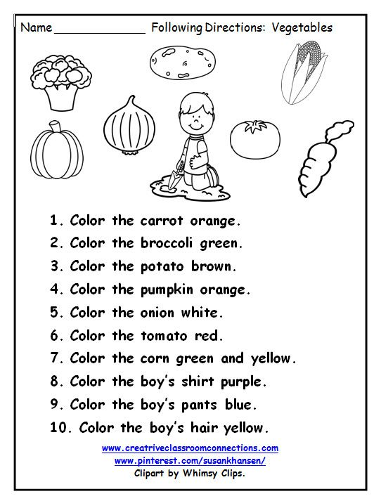 Free Following Directions page provides practice using color words – Following Directions Worksheet for Kindergarten