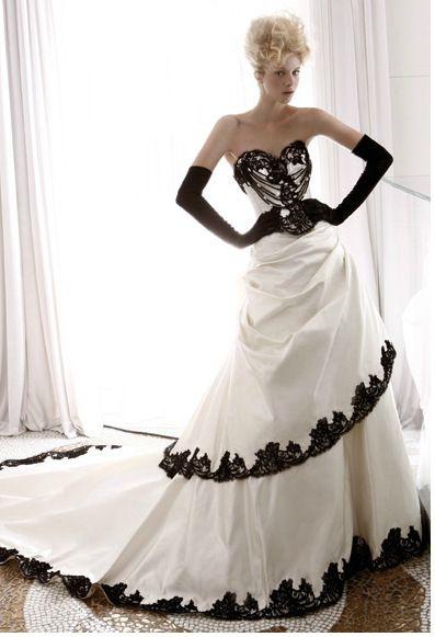 Hot Sale!White and Blace Lace Elegant vintage wedding dress gothic ...