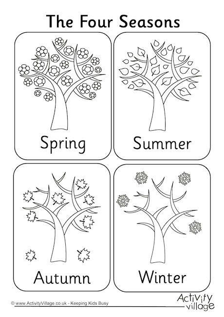 Four seasons colouring page … | Seasons worksheets, Seasons ...