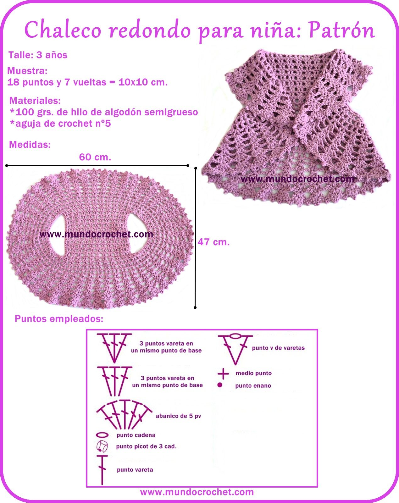 Chaleco redondo a crochet para niña/Cha… | CROCHET : CANESÚ ...