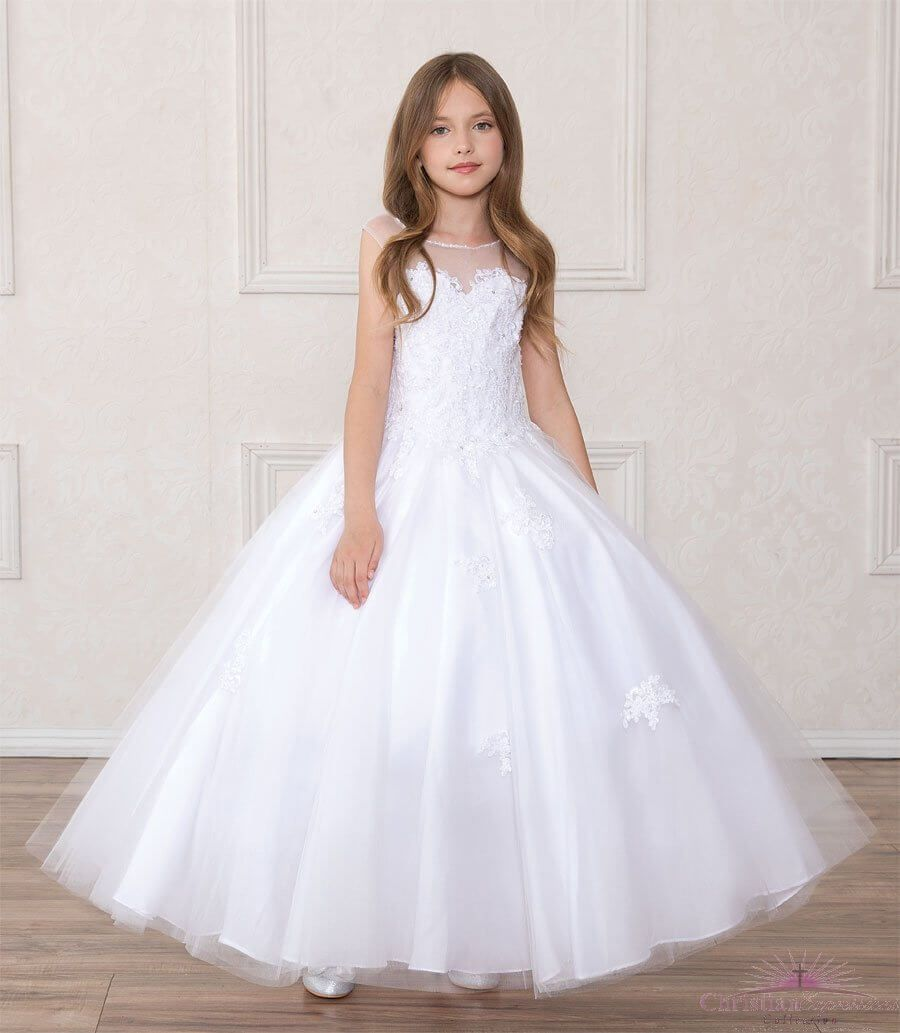 First Holy Communion Dress Full Length Beaded with Open ...