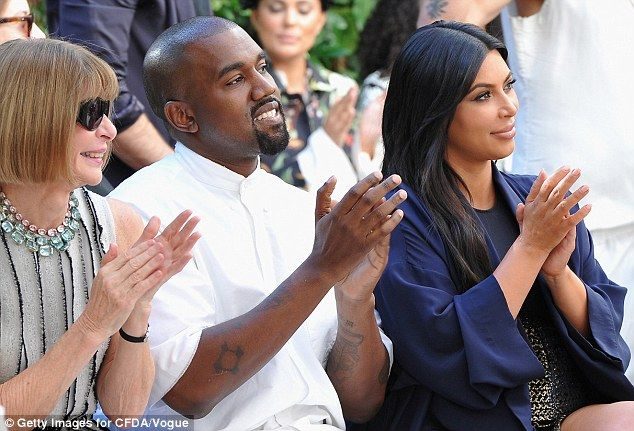 Fashion icons: Kim and Kanye joined Vogue Editor-In-Chief Anna Wintour at the event...