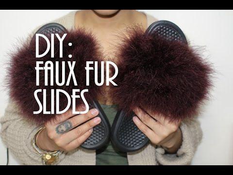 e570d1008e6a DIY  Faux Fur Nike Slides - YouTube