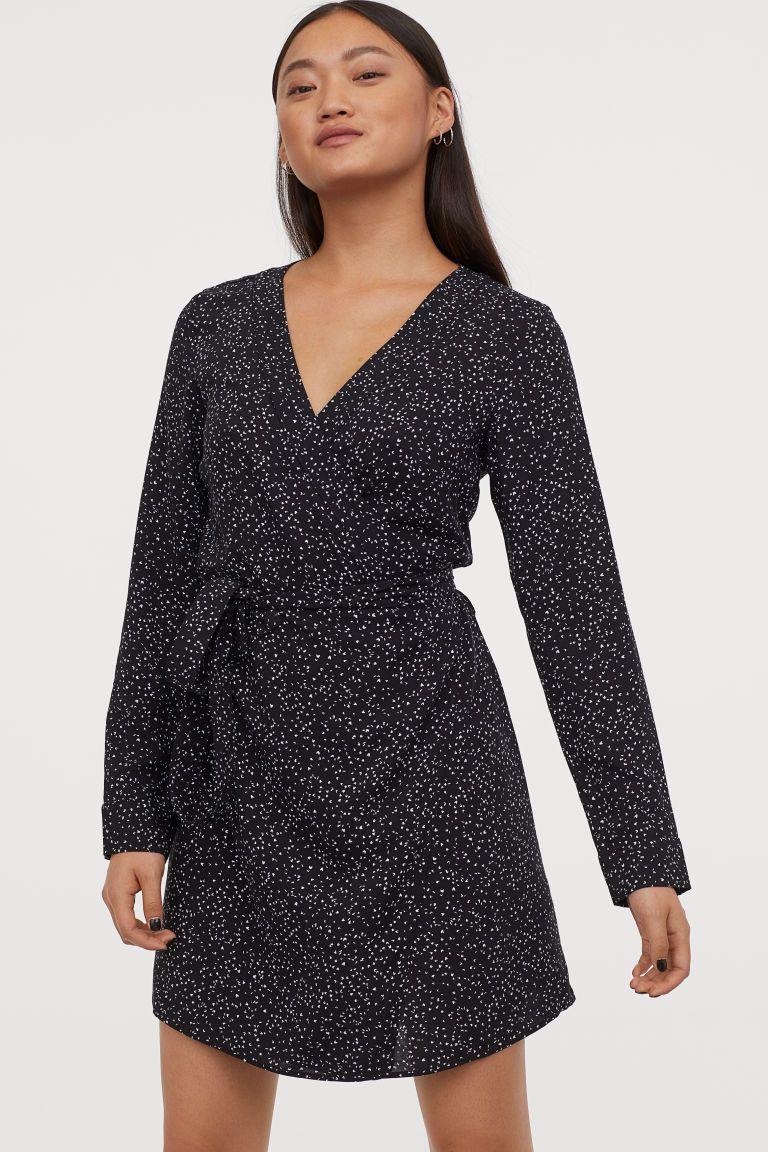 Pdp in 2020 black wrap dress mini black dress smock dress