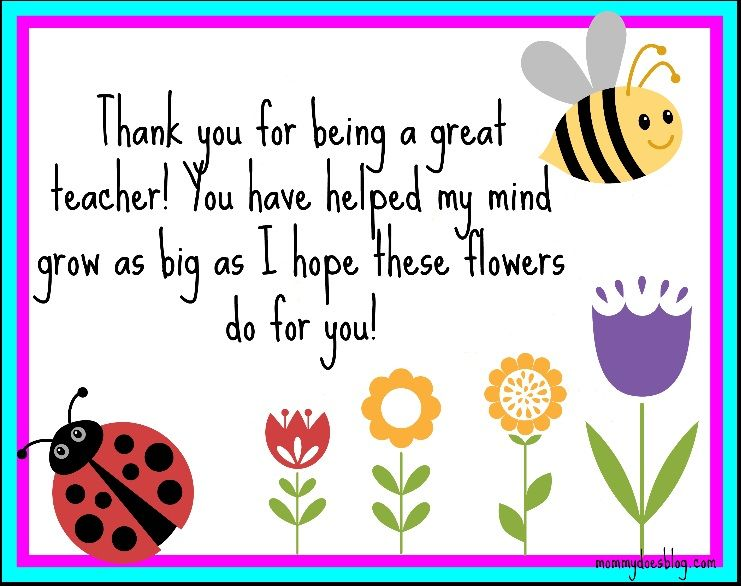 Thank You Printable For Teachers  Gift Ideas