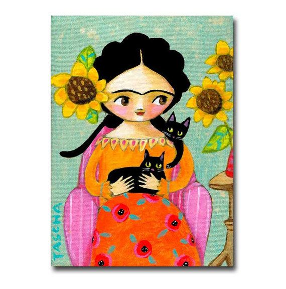 Frida with two Black Cats painting ORIGINAL acrylic by tascha