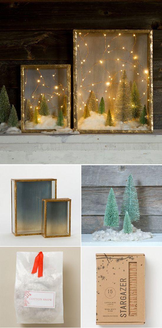 Create An Enchanted Forest With This Shadow Box Diy Ideeen Voor Kerstversiering Kerst Projecten Kerst Ornament