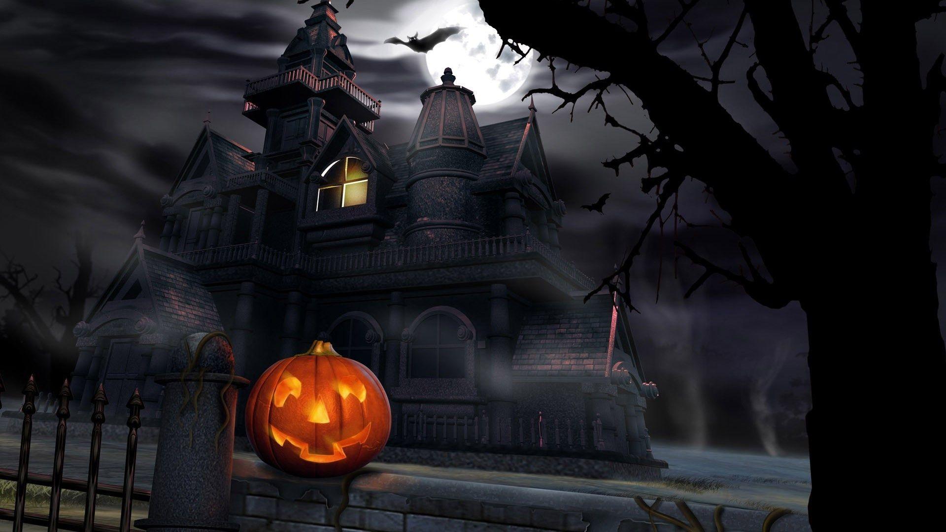 Spooky House In 1920x1080 Resolution Hd Desktop Wallpapers Halloween Pictures Free Halloween Wallpaper Scary Wallpaper