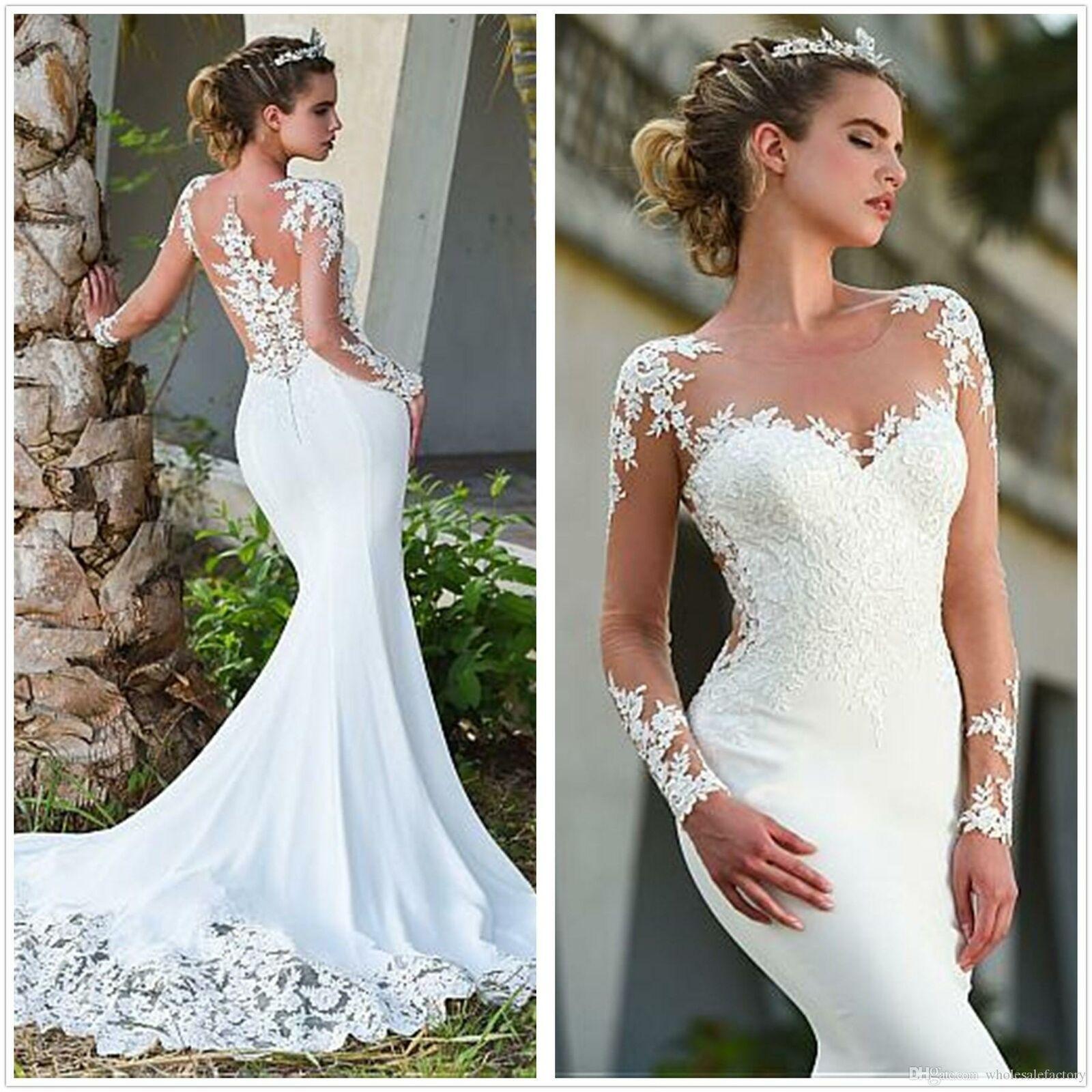 Long Sleeves Satin Mermaid Wedding Dress 2020 Tulle Lace Applique Bridal Gown Wed Sheer Wedding Dress Lace Mermaid Wedding Dress Satin Mermaid Wedding Dress [ 1600 x 1600 Pixel ]