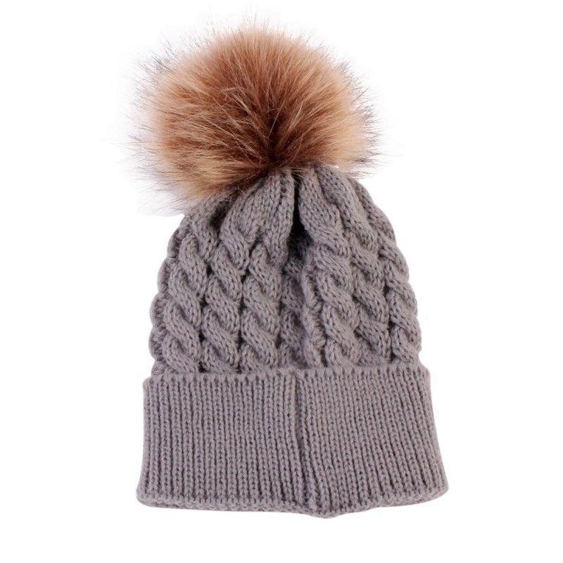 97fac746a53 Newborn Winter Baby Hat Fur Ball Pompom Cap Kids Girl Boy Winter Knitted  Wool Hats Caps for Girls Hat Beanies A08