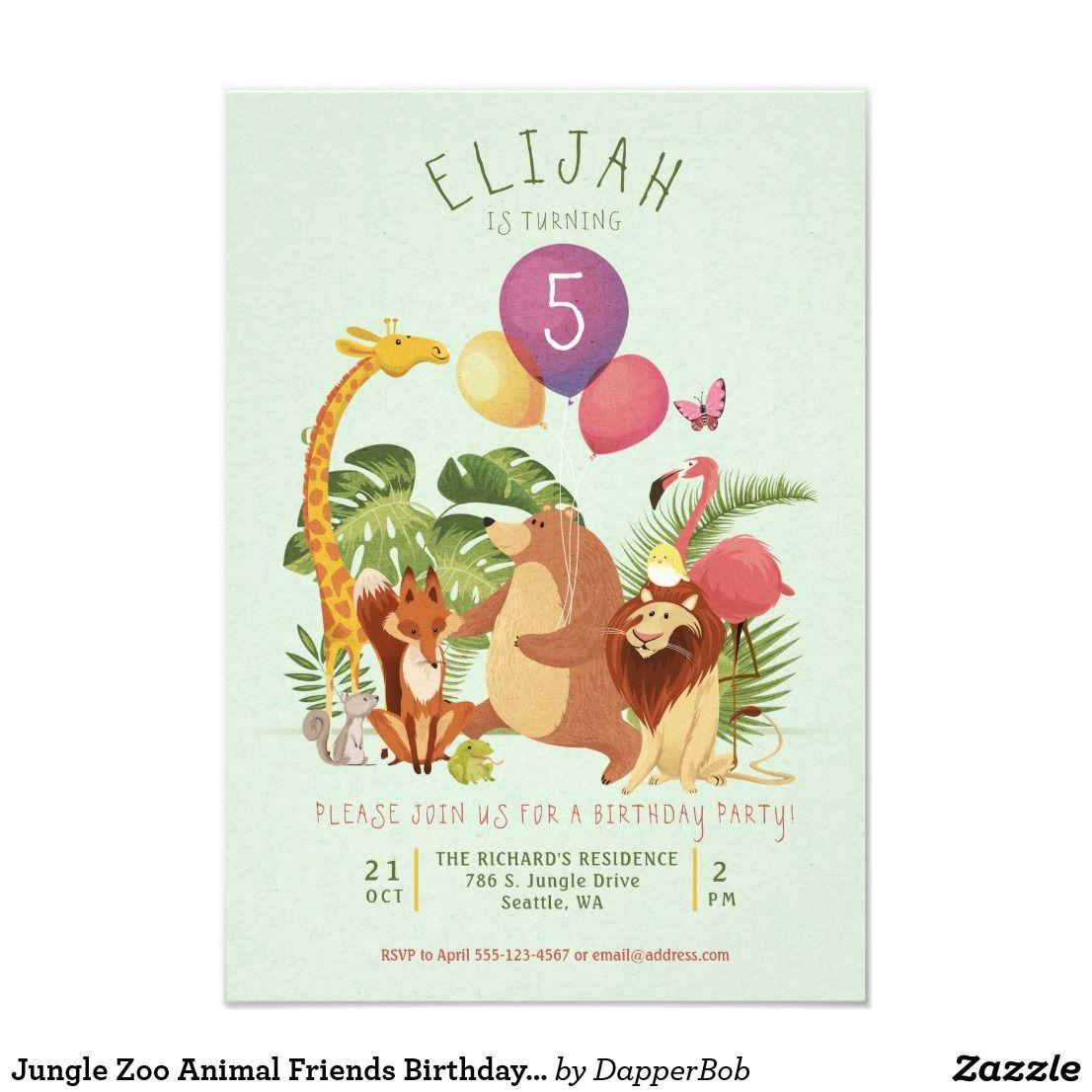 Jungle zoo animal friends birthday party invite jungle zoo animal friends birthday party invite critter parade of jungle and zoo animals bear stopboris Gallery