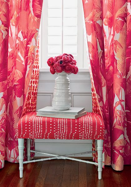 Thibaut Fabric Traveler's Palm in Pink and Coral (F910130