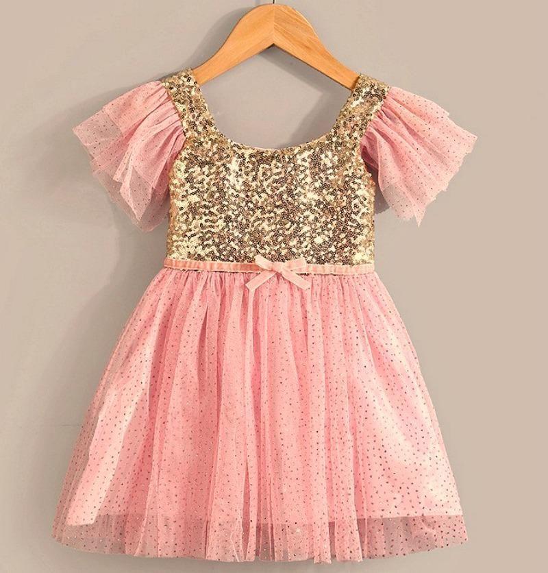 Girls Pink & Gold Sequin Birthday Dress, Pink & Gold Princess Tutu ...
