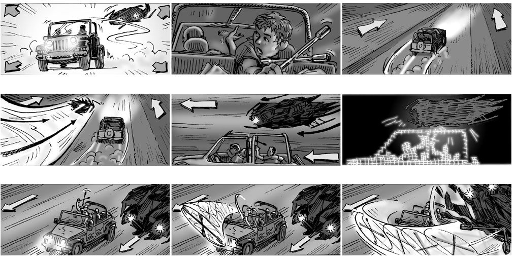 Examples of dynamism and movement w  vehicles~ Cinematography - movie storyboard