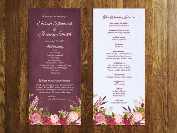 Floral Wedding Program Template Editable By PetitePrintShoppe - Floral wedding program templates