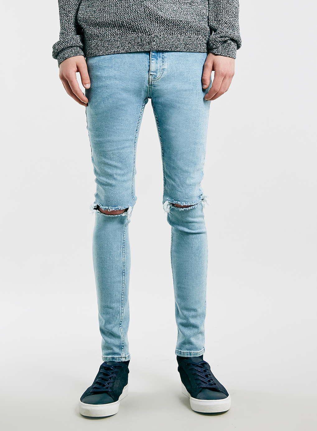 Light Blue Ripped Spray On Skinny Jeans | Sprays