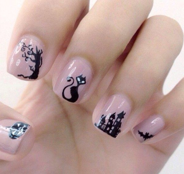 50 Cool Halloween Nail Art Designs For 2018 With Images Halloween Nails Diy Cute Halloween Nails Halloween Nail Designs