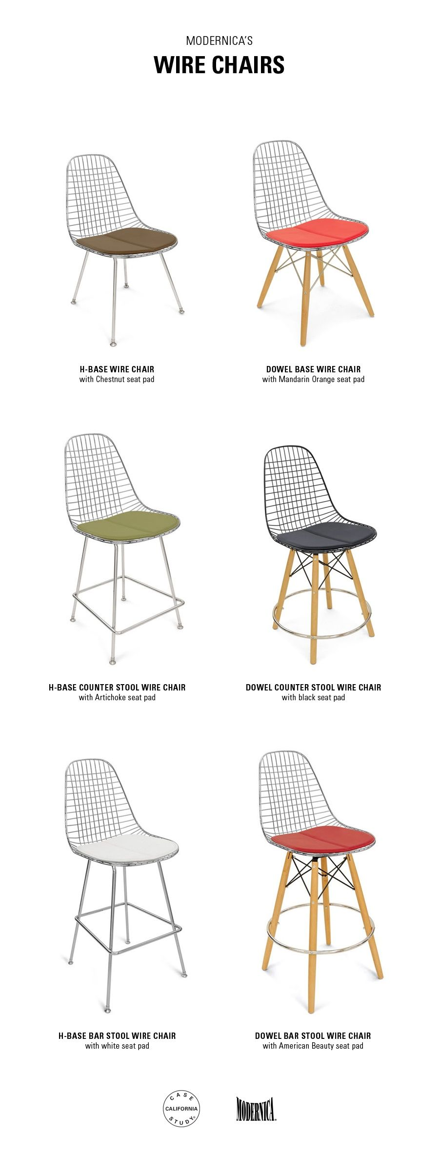 Modernica Case Study Wire Chairs, Counter Stool, And Bar Stools
