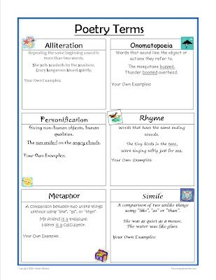 Collection of Poetry Worksheets 4th Grade - Sharebrowse