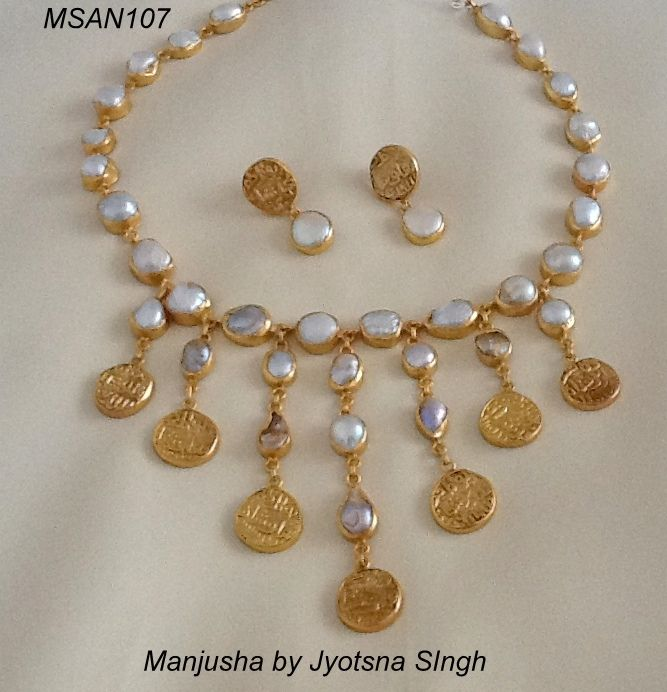 Baroque Pearls Set In 92 5 Silver And Old Silver Coins Plated In 22 Ct Gold Bridal Gold Jewellery Designs Pearl Necklace Designs Gold Jewelry Simple