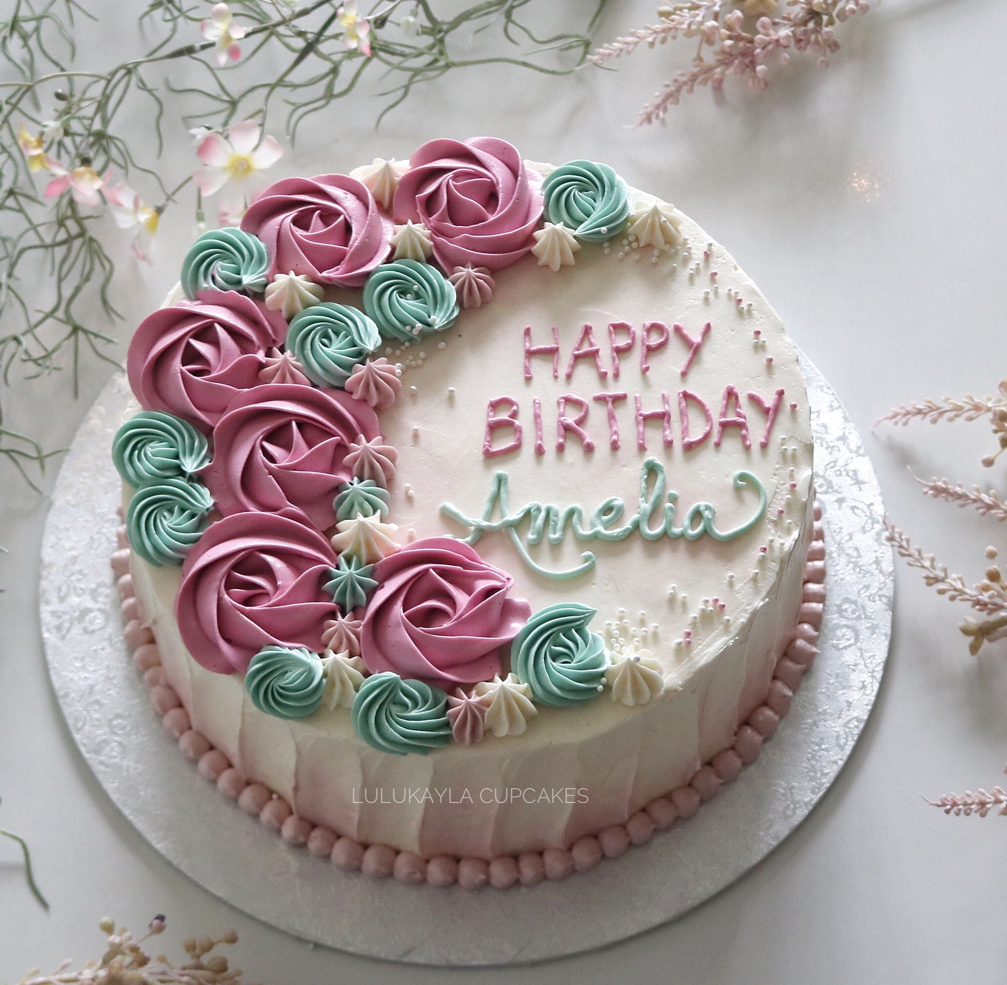 Rose Flower Buttercream Cake Buttercream Cake Designs Cake Birthday Cake Decorating