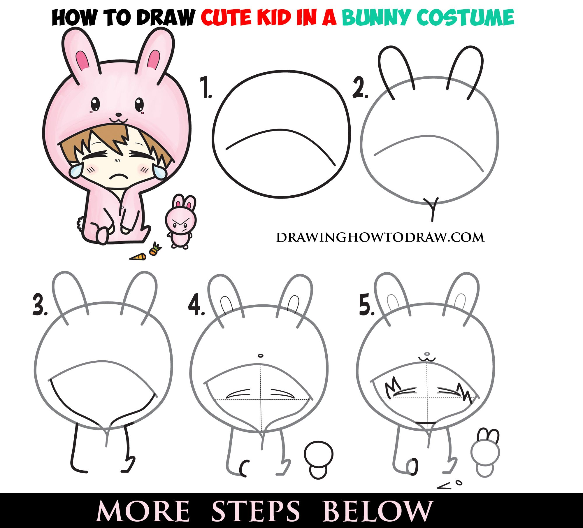 How To Draw A Cute Chibi Character In Bunny Rabbit Onesie Pajamas Costume Easy Steps Drawing For Kids How To Draw Step By Step Drawing Tutorials Funny Drawings Cute Chibi Drawings