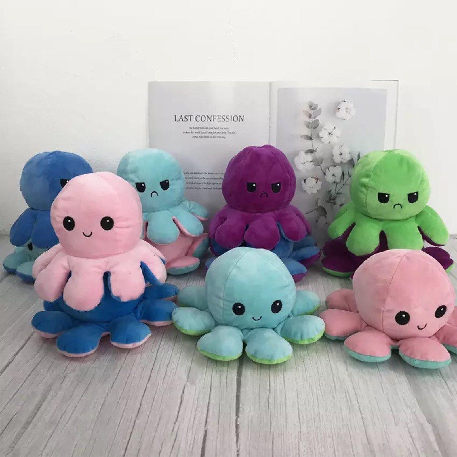 Reversible Tiktok Emotional Octopus Plushie Toy Viral Octopus Plush Animal Dolls Plush Toy