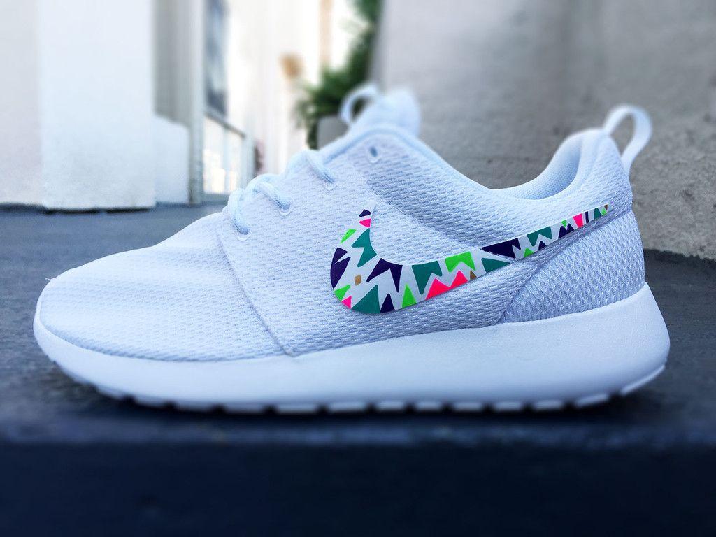 Custom Nike Roshe Run Sneakers For Women Lime Purple