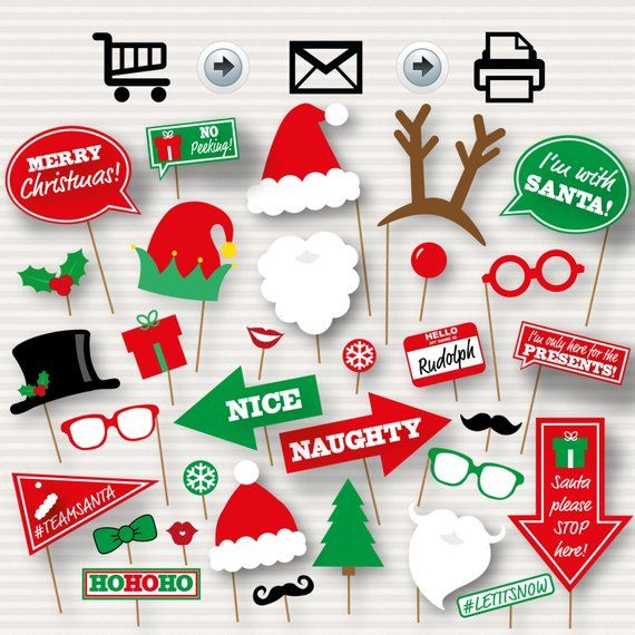 Christmas Photo Booth Printable Props Christmas Party Photo Booth