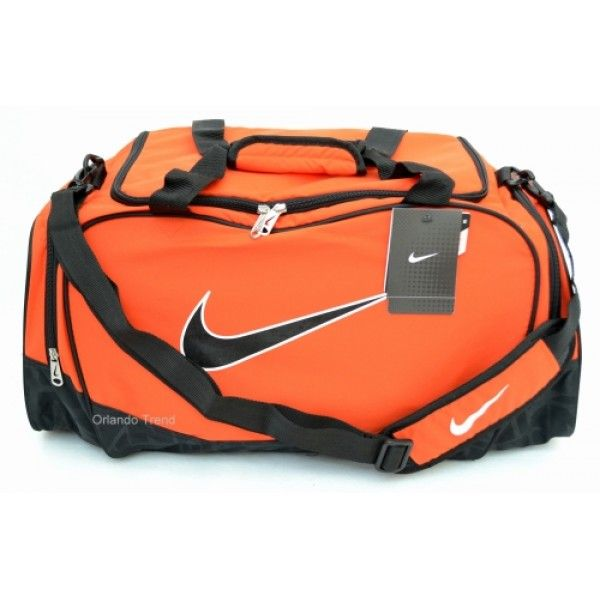 Nike Brasilia 5 Orange And Black Medium Duffel Bag