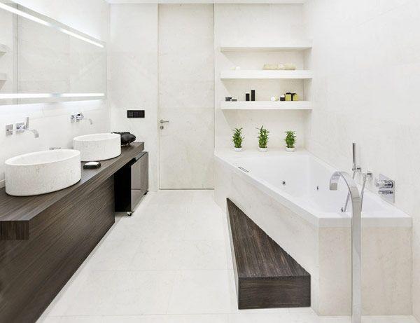 Double sinks and angled bath.