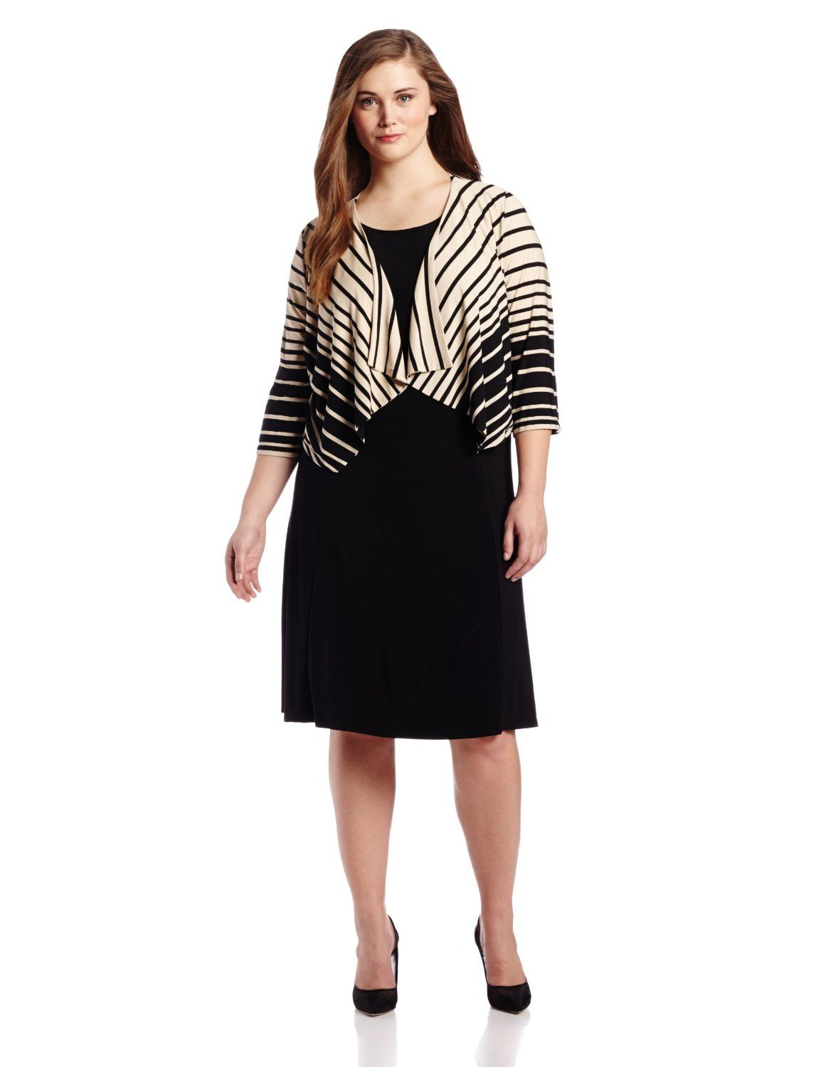 Danny Nicole Womens Plus Size 34 Sleeve Striped Ombre Jacket