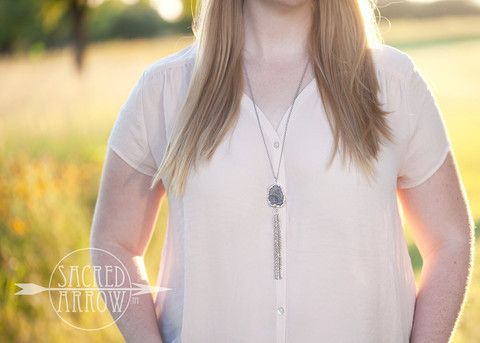 """30"""" Silver Druzy Tassel Nape Diffuser™ Necklace - Stainless Steel – Sacred Arrow"""