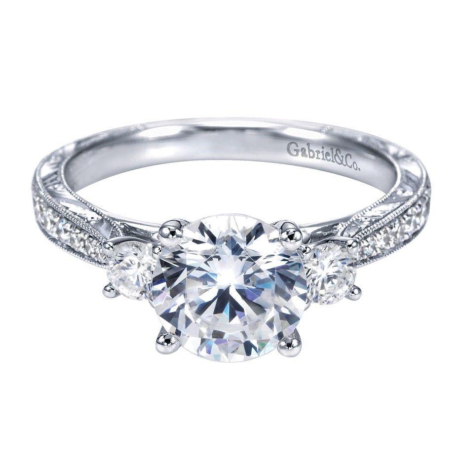 Gabriel+co+14k+white+gold+victorian+3+stone+ · Engagement Ring  Stylesengagement
