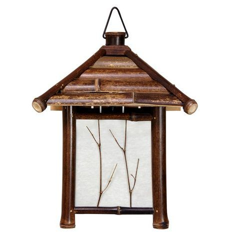A beautiful, dark stained bamboo wall sconce, sturdily crafted in a lovely Japanese  lantern