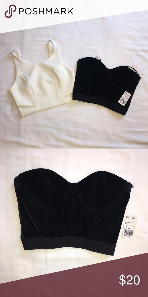 35e116ccb8948 Forever 21 Crop Top Corset Festival Lot Cutout Both NWT Size  M One black  velvet