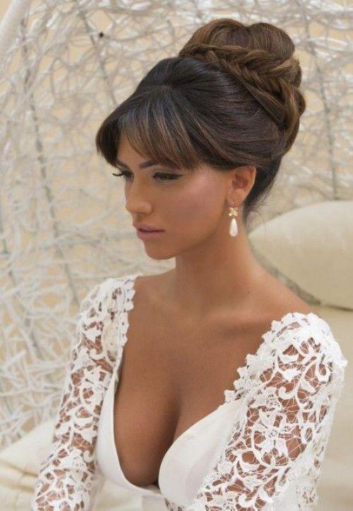 Peinados para bodas con flequillo