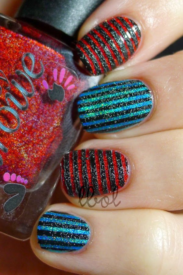 61738ae8b93 Stripe Nail Art  Colors by Llarowe - Young Turks and The Mighty Red Baron   Sally  Hansen Sugar Coat - Lick-O-Rich