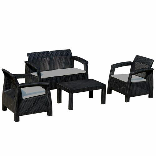 17 Stories Woolley 4 Seater Rattan Effect Sofa Set with Cushions