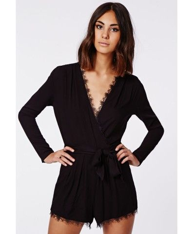 07586bd91803 Missguided - Myra Lace Trim Tie Front Wrap Romper Black