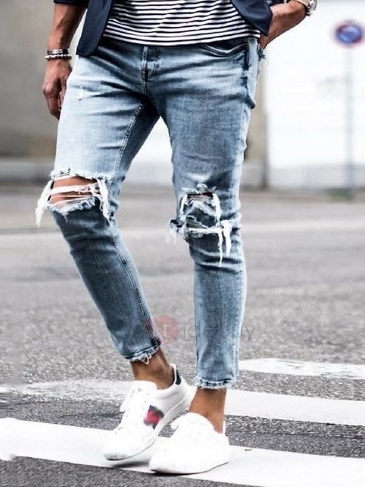 Pantalon Homme en Jean Denim Genou Troué Mode: