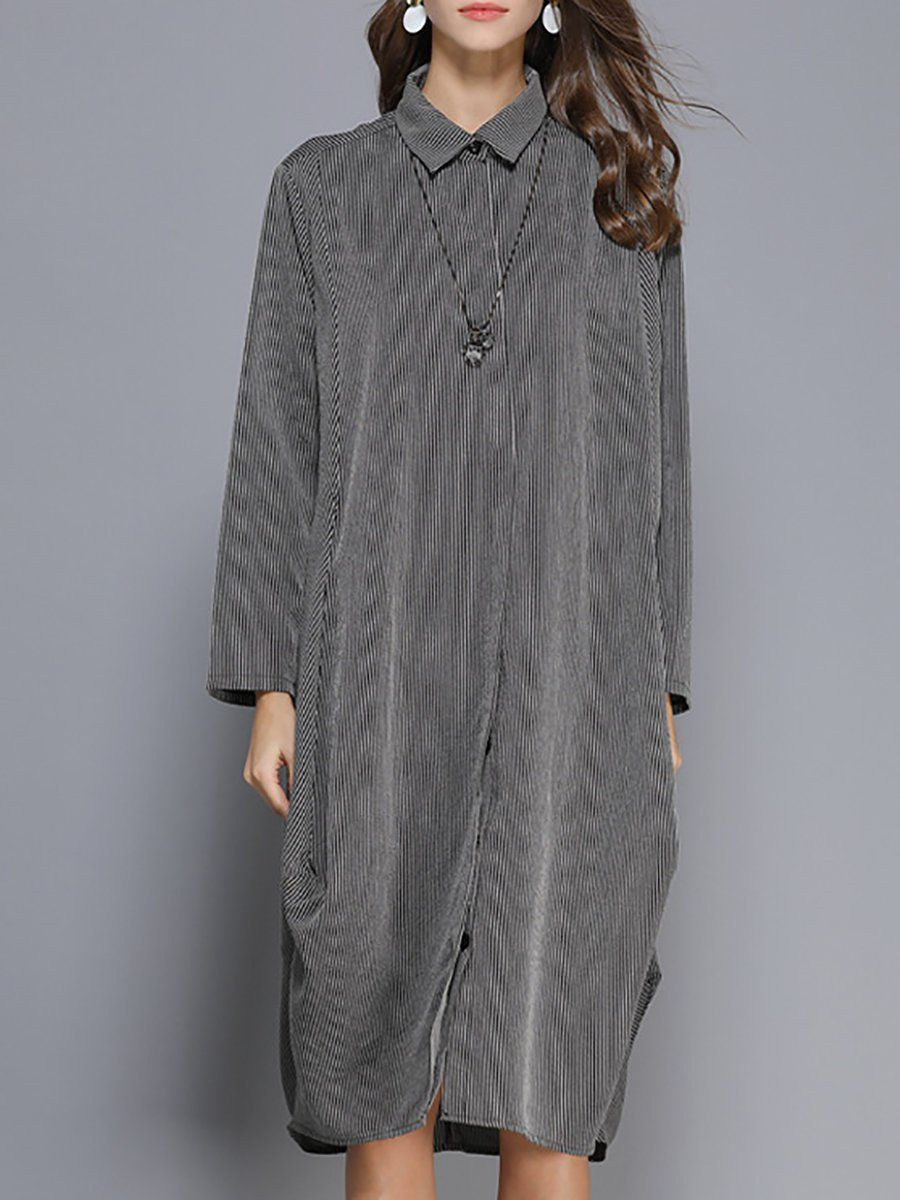 4e1530c8c71 Shirt Collar Shift Stripes Midi Dress in 2018