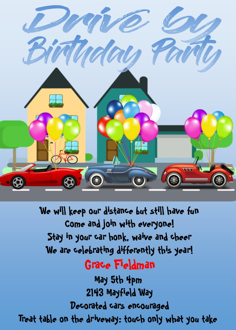 Drive By Nieghborhood Birthday Party Invitations Social Distancing Birthday 90th Birthday Parties Childrens Birthday Party