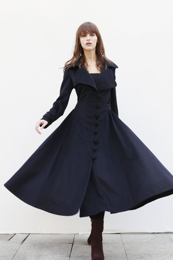 Navy Blue Cashmere Coat Big Sweep Women Wool Winter Coat Long ...